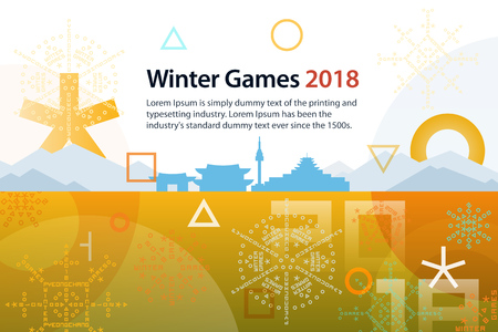 Winter sports games in PyeongChang 2018. Symbols of sports competitions. Colorful abstract background with space for text. Template for advertisement, poster, flyer or web banner.
