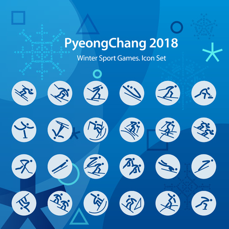 Set of blue icons. Winter sports games in PyeongChang 2018. Symbols of sports competitions. Template for advertisement, poster, flyer or web banner. Illustration