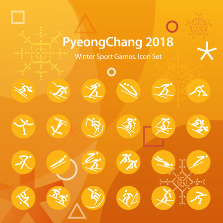 Set of orange icons. Winter sports games in PyeongChang 2018. Symbols of sports competitions. Template for advertisement, poster, flyer or web banner.