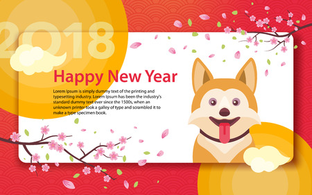 Happy Chinese New Year 2018. Year of the fiery dog. Chinese Zodiac. Template for greeting card, poster, advertising banner. Sakura branches and clouds. Horizontal banner. Vector illustration