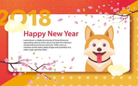 Happy Chinese New Year 2018. Year of the dog in the Chinese calendar. Template for greeting card, poster, advertising banner. Sakura branches and clouds. Horizontal banner. Vector illustration Illustration