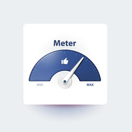 Measurement of activity in social media. Analysis and prediction of content popularity Measuring device with an arrow. Effective user involvement in social network. Isolated meter. Thumbs up. Illustration