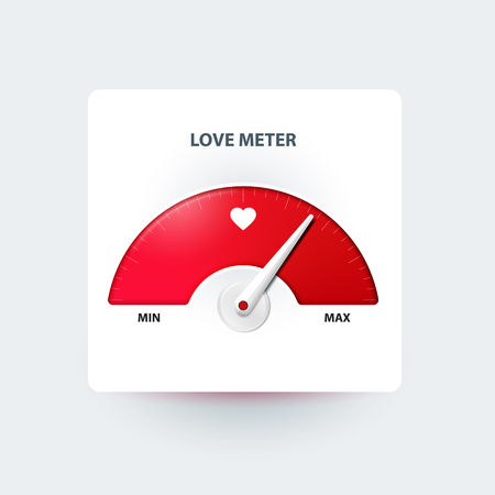 Love meter for Valentines day greeting card design element. Illustration