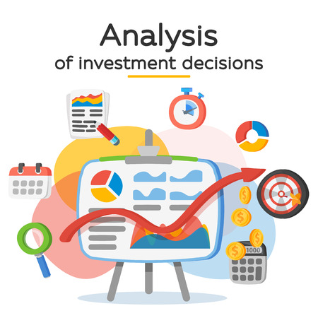 Investment attraction case studies and analysis vector illustration Illustration
