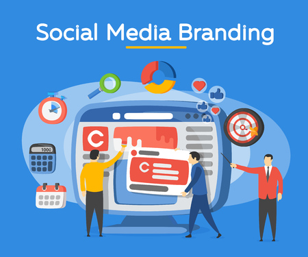 Promotion of the brand in social network. People in the social media industry. Analytics for social media marketing, management and optimization. Advertising and promotion process. Vector illustration Illustration