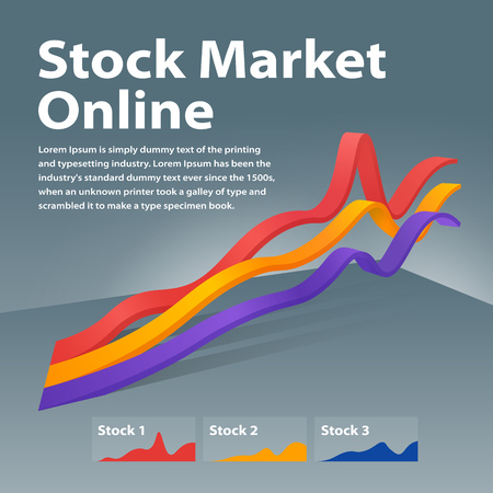 Stock market online on  Visualization info graphic concept.