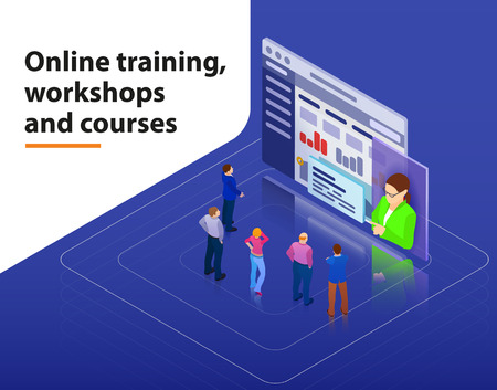 Online training, workshops and courses visualization flat 3d web isometric