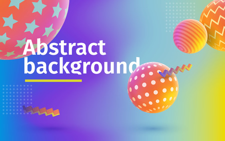 Multicolored abstract vector holographic 3D background. Trendy liquid gradients. Colored 3d balls with textures. Template for banner and advertising poster. Vector illustration.