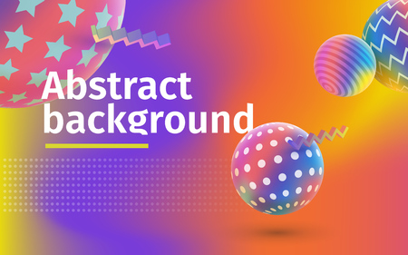 Fluid colorful shapes composition. Trendy gradients. Multicolored abstract vector holographic 3D background. Colored 3d balls with textures. Template for banner and advertising poster vector illustration. Illustration