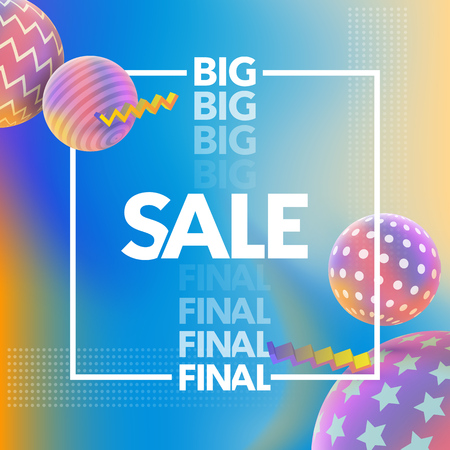 Final Sale banner. Special offer, big sale banner. Multicolored abstract vector holographic 3D background. Trendy liquid gradients. Colored 3d balls with textures. Vector illustration. Illustration