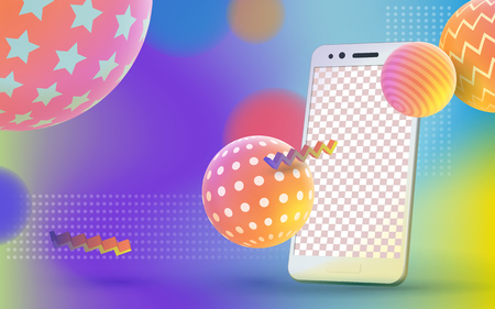 Multicolored abstract vector holographic 3D background. Trendy liquid gradients. Colored 3d balls with textures and realistic, isolated mobile phone. Template for advertising poster. Vector illustration. Illustration