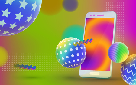 Colored 3d balls with textures and realistic, isolated smartphone. Multicolored abstract vector holographic 3D background. Trendy liquid gradients. Template for advertising poster. Vector illustration.