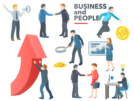 Business people working. Business process. Conversation, transactions, PR, new ideas, presentation, search for an investor, increase in profits. Flat icons vector set. Vector illustration. Illustration