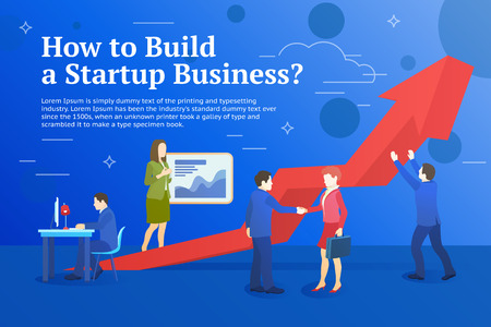 Business startup work moments flat banner. Business process and project management. New ideas, search for investor, increased profits. Vector illustration of a business situation.