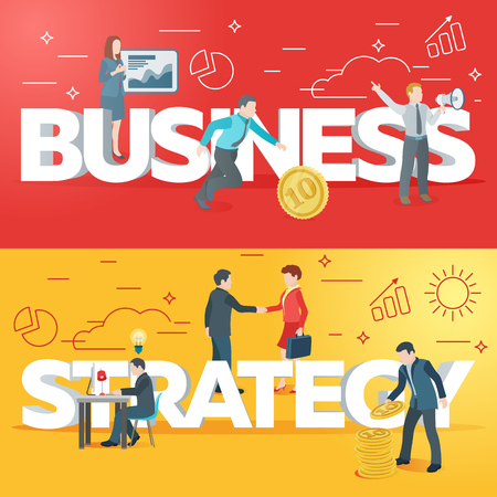 Startup work moments. Business process. The presentation, search for investor, promotion. The woman at the blackboard with infographics, man and money, a man with a loudspeaker. Veter picture. Stock Illustratie