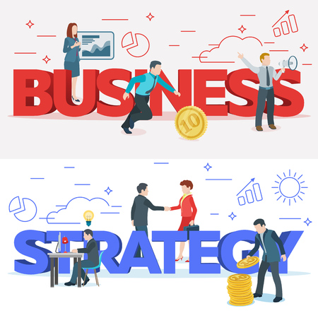 Startup work moments. Business process and project management. The presentation, search for investor, promotion. The woman at the blackboard with infographics. Veter picture. Stock Vector - 97601863