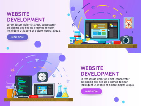 Flat design modern vector illustration concept. Business process Set of flat color banners design. Website development, Web design. Modern flat design 2018. Website Elements. Vector illustration Stock Vector - 97601865