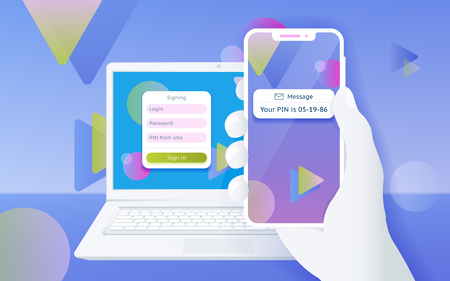 Multi-factor authentication (MFA) SMS code password. Man sitting at desktop and getting access to the website two step verification. Design concept from web banner and advertising. Vector illustration