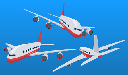 Charter airplane in various point of view. Passenger plane in a flat 3d style. Private plane charter with a red stripe. Isolated aircraft for air charter service. Vector illustration Иллюстрация