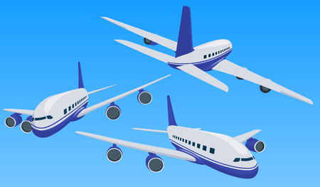 Charter airplane in various point of view. Private charter flights. Plane in a flat 3d style. Private plane charter with a red stripe. Isolated aircraft for air charter service. Vector image