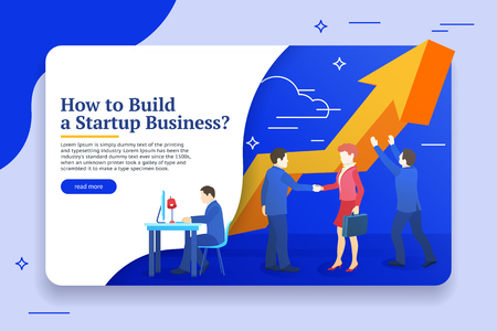 People work in a team and achieve the goal. Business planning, risk management design concept. Website banner templates. Startup concept. Launch a new product on a market. Vector illustration Иллюстрация