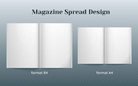 Double page spread magazine design. Two isolated templates of the B4 and A4 format. double page vector mockup on gray background. Vector image Illustration