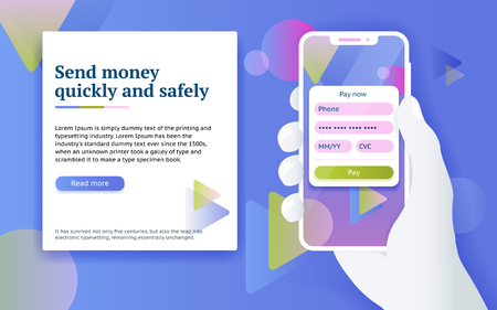Online payment via internet services. Mobile payment application. Man with phone in hand. Design concept from web banner and advertising. Online money transfer concept in flat style. Vector image