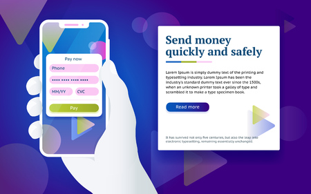 Credit card payment app. Money transfer design concept. Pay by smartphone. Man with phone in hand. Online payment via internet services. Design concept from web banner and advertising. Vector image Stock Vector - 99500396
