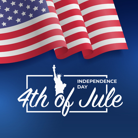 Fourth of July Independence Day 2018. United States waving flag. Fourth of July celebrate. 4th of Jule. Template for website banner, poster and advertisement. Vector illustration