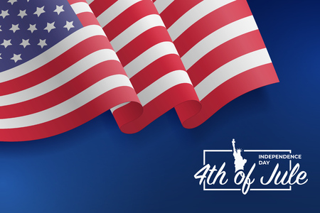 United States waving flag. Fourth of July celebrate. 4th of Jule. Fourth of July Independence Day 2018. Template for website banner. Blue background with stars and confetti. Vector illustration Stock Vector - 101990458