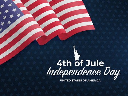 Fourth of July Independence Day 2018. United States waving flag. Fourth of July celebrate. 4th of Jule. Template for website banner, poster and advertisement. Blue background with stars and US flag Stock Vector - 101921158