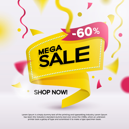 Big sale banner for your promotion. Limited offer, discounts. Yellow sticker template with defocused objects on the background. Sale banner tag. Flat fashionable geometric style. Vector illustartion Иллюстрация