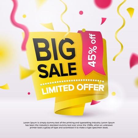 Big sale bright banner design template. Special offer advertising poster. Fashionable banner for a site or ads. Defocused confetti and ribbons. Yellow discount label. Vector image Иллюстрация