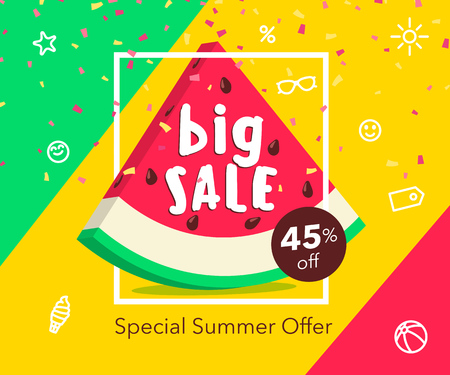 Big summer sale beautiful web banner. Cute watermelon slice in frame. Special Summer offer advertising poster. Flat fashionable geometric style. Vector illustration with spesial discount offer. Иллюстрация