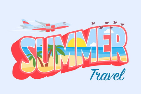 Summer travel. Isolated 3d text with the image inside. Palms, sand, sea and sun inside text. Traveling by plane. Banner in the style of the 80s. Template for website and advertisement.