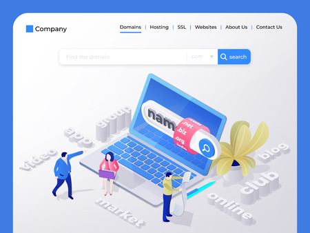 Find and buy a domain name. Page design templates for hosting company, digital marketing, business planning. People choose a domain name for the site. Vector illustration in isometric style Stock Vector - 111914760