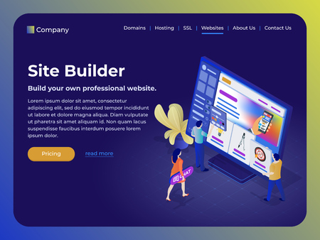 Constructor of web pages and websites. People in the flat 3d isometric style collect a site from blocks. Creative team at work, they are developing a responsive website. Modern template for website. Stock Vector - 111914762