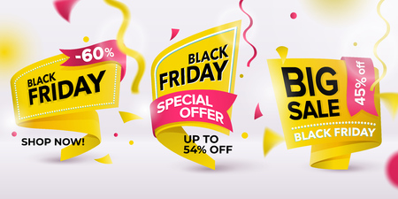 Black Friday sale 2018. Set of yellow colored stickers and banners. Geometric shapes. Realistic curved paper labels. Advertising elements. Sale banner tags. Vector illustration.