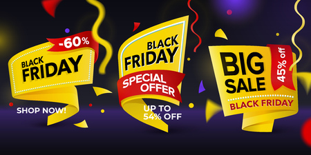 Black Friday sale 2018. Set of beautiful discount and promotion tags. Realistic curved paper labels. Advertising elements. Set of yellow colored stickers and banners. Sale banner tags. Illustration