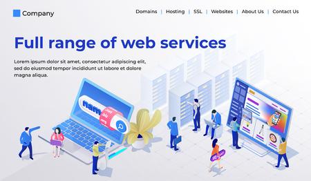Modello di progettazione di pagine Web per studio web in moderno stile isometrico 3d. Scelta e acquisto di un dominio, hosting per un sito, site builder. Le persone sono impegnate con il lavoro. Illustrazione vettoriale