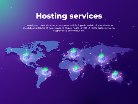 Computing services concept. Servers on the world map. Concept of big data processing, server room racks. Fast data transfer. vector illustration.