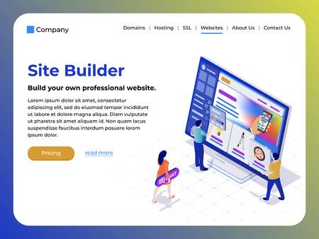 Constructor de páginas web y sitios web. Las personas en el estilo isométrico plano 3d están trabajando en la creación del sitio. Fácil de editar y personalizar. Plantilla moderna para el diseño de sitios web. Ilustración vectorial Ilustración de vector