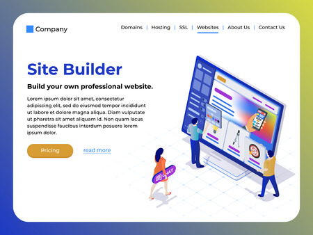 Constructor of web pages and websites. People in the flat 3d isometric style are working on creating the site. Easy to edit and customize. Modern template for website design. Vector illustration Çizim