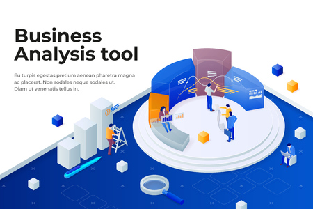 People work in a team and achieve the goal. Pie chart in 3d isometric style. Data analysis, and office situations. Landing page template. Business software 3d concept. Vector illustration. Stock Vector - 121995594