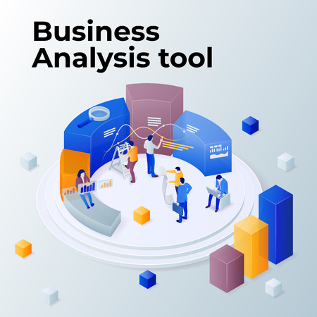 People work in a team and achieve the goal. Pie chart in 3d isometric style. Consulting for company performance, analysis concept. Statistics and business statement. Vector illustration