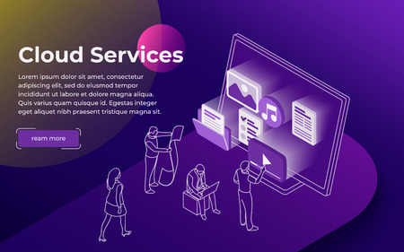 Cloud data storage and remote data access flat 3d isometric business concept. People stand at the open laptop. Professional hosting and data storage. Modern line illustration. Vector image Illustration