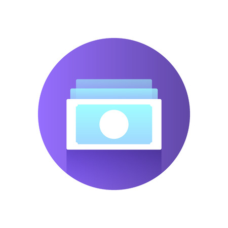 Paper Money Icon. Modern blue icon with gradient. Image for the site of financial services. Vector illustration.