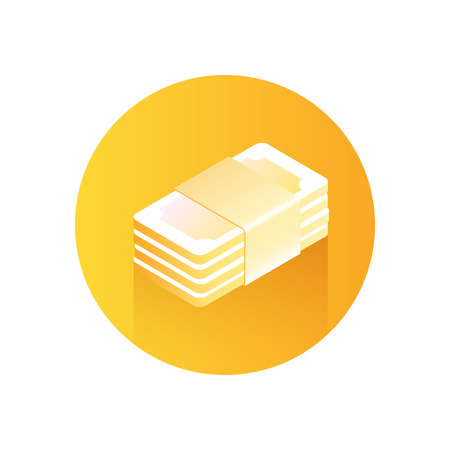 Paper Money Icon. Stack of money on orange background. Modern icon with gradient. Image for the site of financial services. Vector illustration. Иллюстрация