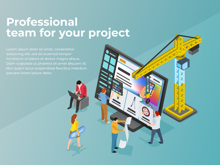 Creation and promotion of sites. UI / UX design. People work in teams on a project. The crane lifts the design element. Launch a new product on a market. Flat 3d isometric vector illustration.