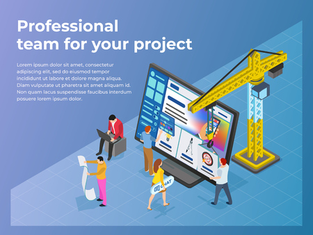 Creation and promotion of sites. UI  UX design. People work in teams on a project. The crane lifts the design element. Business processes and office situations. Flat 3d isometric vector illustration.